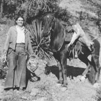 Juanita Morrow with her first whitetail buck, 1936