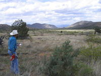 Rancher & author R.W. Morrow looking north over the east half of the property, 2005
